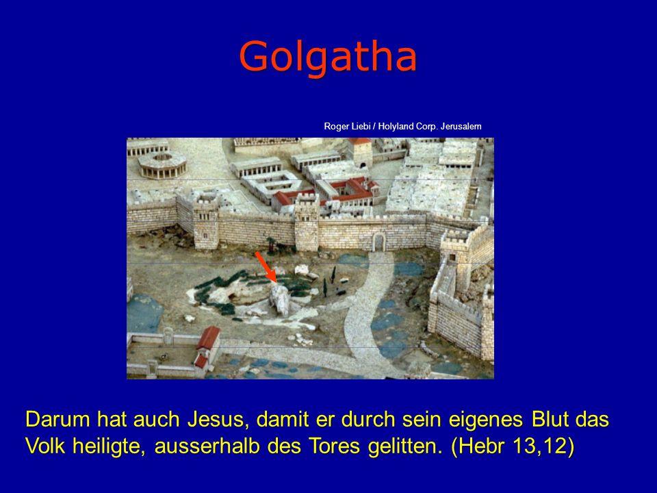Golgatha Darum hat auch Jesus, damit er durch sein eigenes Blut das Volk heiligte, ausserhalb des Tores gelitten. (Hebr 13,12) Roger Liebi / Holyland