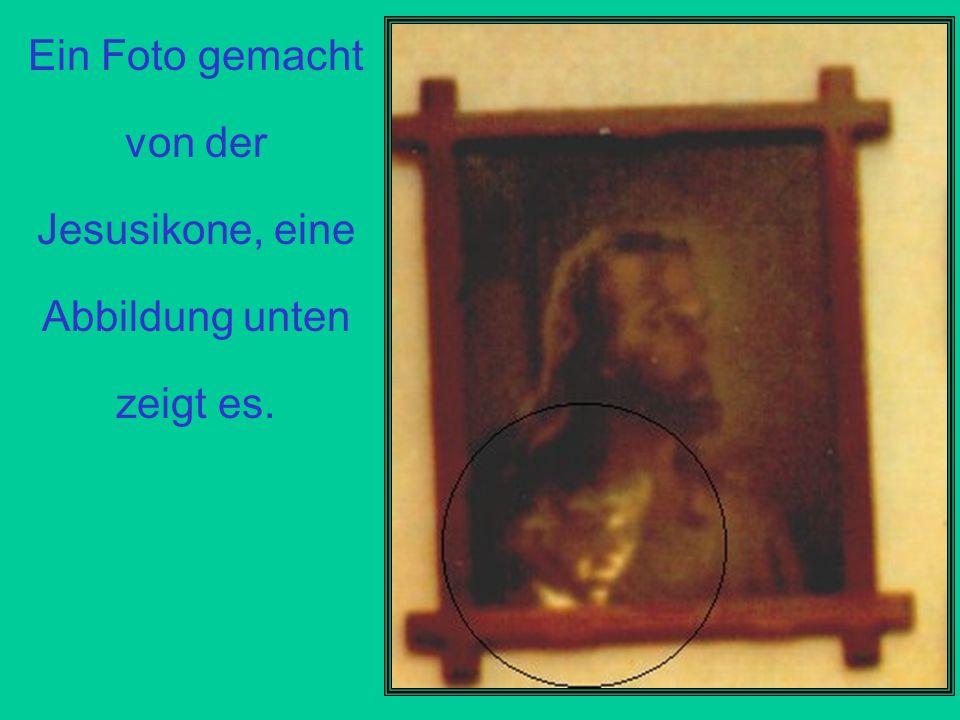 Ein Foto gemacht von der Jesusikone, eine Abbildung unten zeigt es.