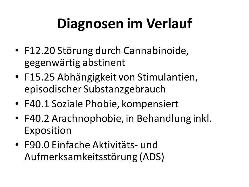 Diagnosen im Verlauf F12.20 Störung durch Cannabinoide, gegenwärtig abstinent F15.25 Abhängigkeit von Stimulantien, episodischer Substanzgebrauch F40.1 Soziale Phobie, kompensiert F40.2 Arachnophobie, in Behandlung inkl.