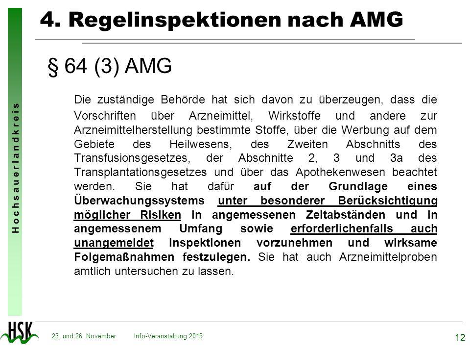 H o c h s a u e r l a n d k r e i s Info-Veranstaltung 2015 12 23. und 26. November 4. Regelinspektionen nach AMG § 64 (3) AMG Die zuständige Behörde