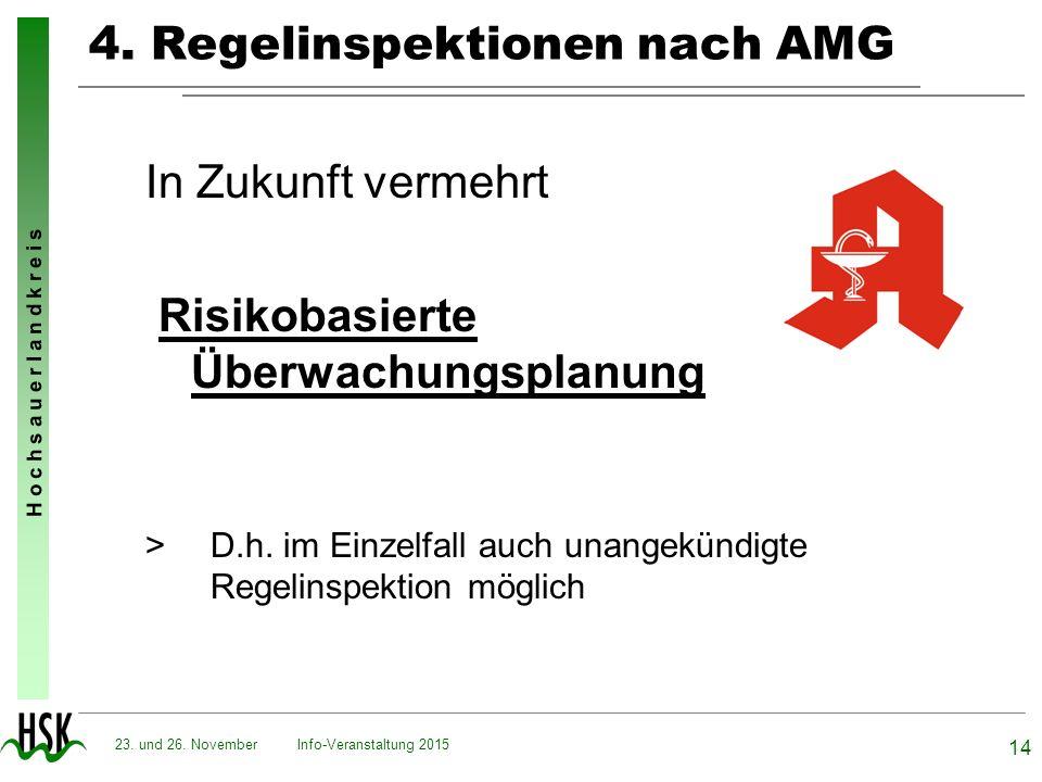 H o c h s a u e r l a n d k r e i s 4. Regelinspektionen nach AMG In Zukunft vermehrt Risikobasierte Überwachungsplanung > D.h. im Einzelfall auch una