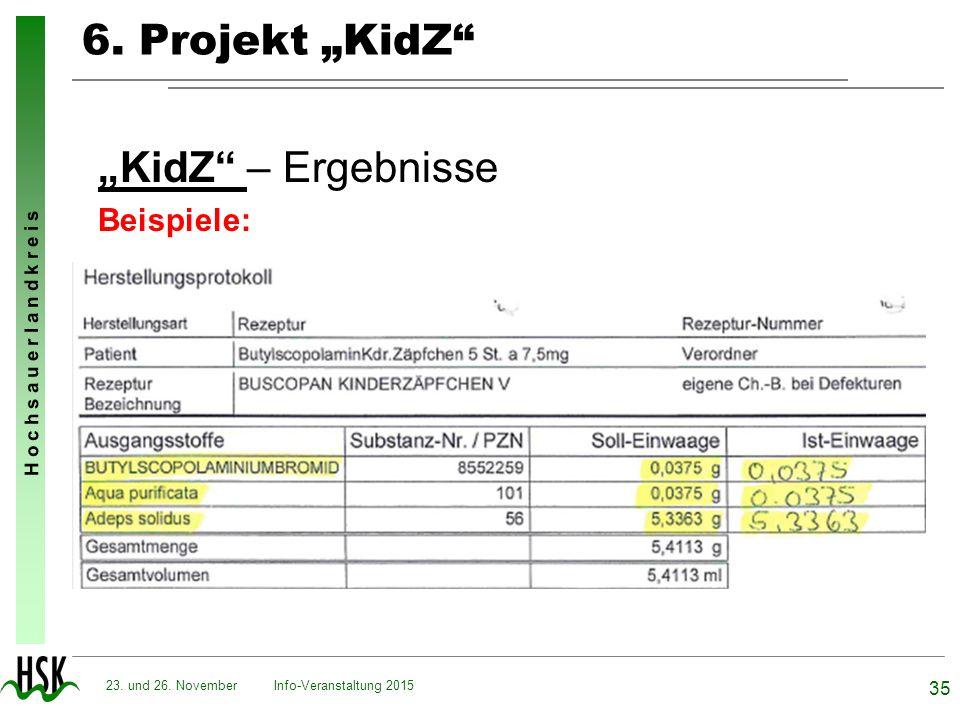 """H o c h s a u e r l a n d k r e i s 6. Projekt """"KidZ"""" """"KidZ"""" – Ergebnisse Beispiele: Info-Veranstaltung 2015 35 23. und 26. November"""