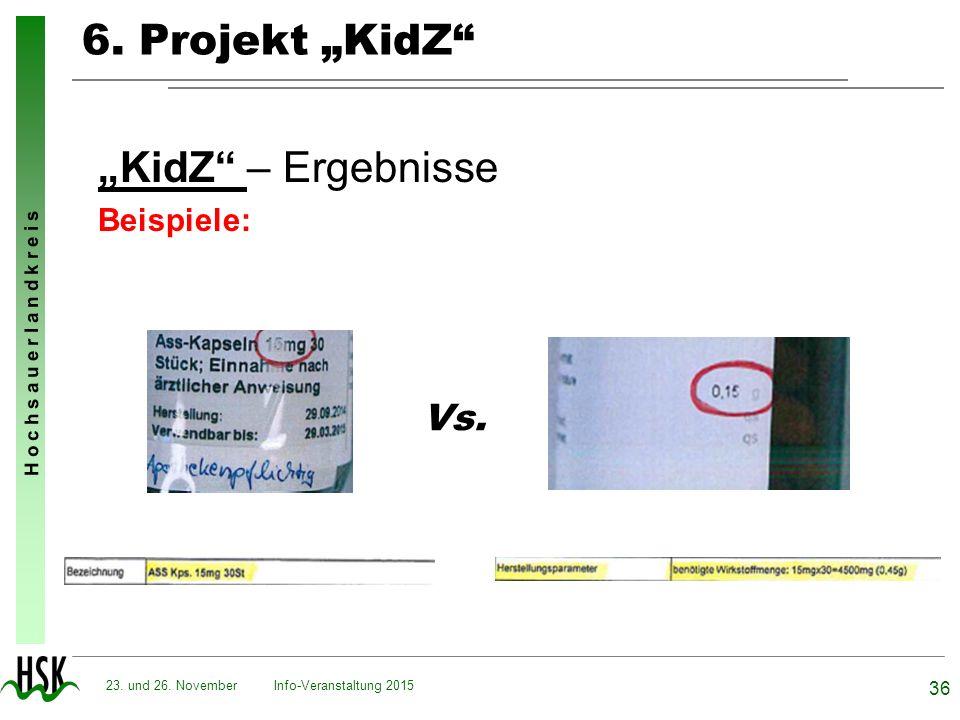 """H o c h s a u e r l a n d k r e i s 6. Projekt """"KidZ"""" """"KidZ"""" – Ergebnisse Beispiele: Info-Veranstaltung 2015 36 23. und 26. November Vs."""