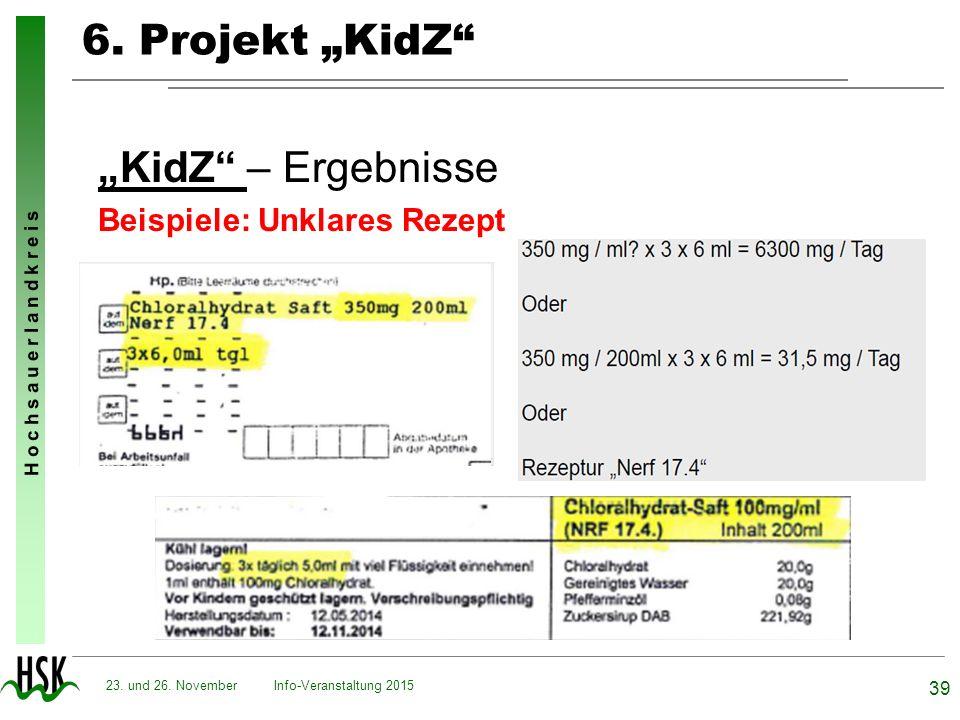 """H o c h s a u e r l a n d k r e i s 6. Projekt """"KidZ"""" """"KidZ"""" – Ergebnisse Beispiele: Unklares Rezept Info-Veranstaltung 2015 39 23. und 26. November"""