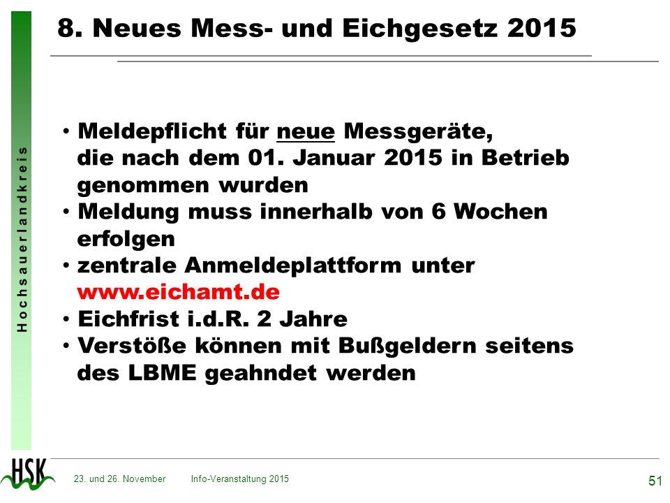H o c h s a u e r l a n d k r e i s 8. Neues Mess- und Eichgesetz 2015 Info-Veranstaltung 2015 51 23. und 26. November Meldepflicht für neue Messgerät