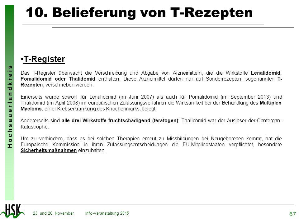 H o c h s a u e r l a n d k r e i s 10. Belieferung von T-Rezepten Info-Veranstaltung 2015 57 23. und 26. November T-Register Das T-Register überwacht