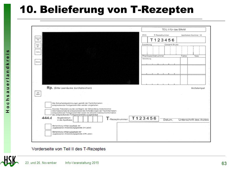 H o c h s a u e r l a n d k r e i s 10. Belieferung von T-Rezepten Info-Veranstaltung 2015 63 23. und 26. November