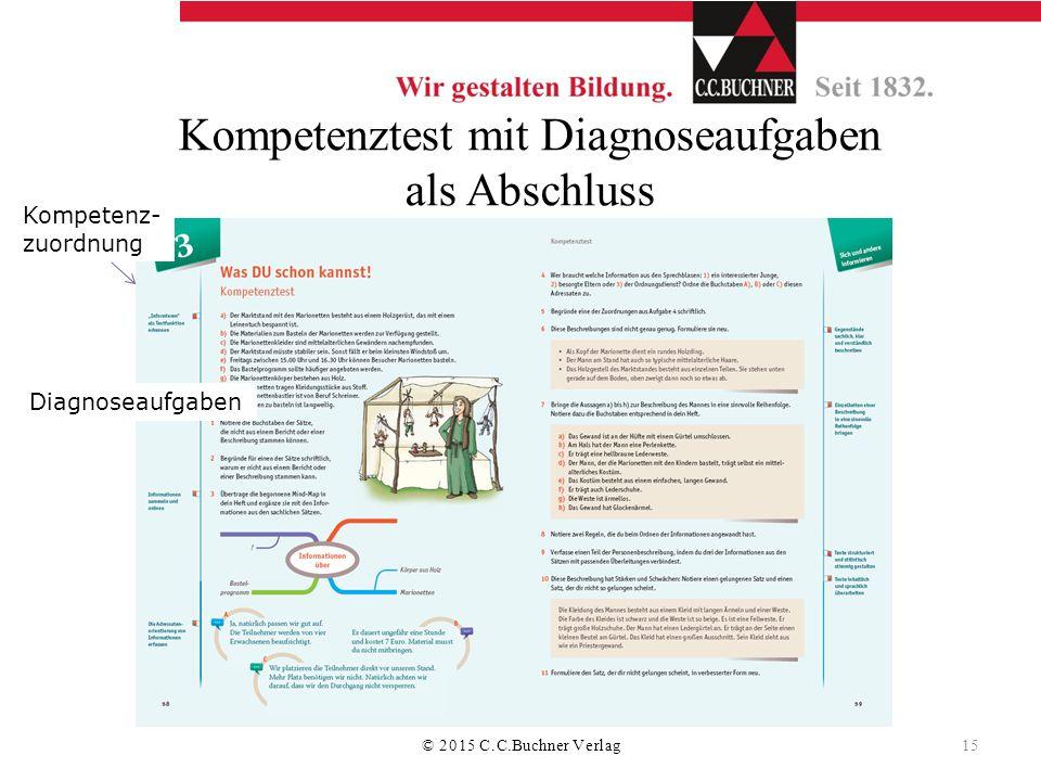 Kompetenztest mit Diagnoseaufgaben als Abschluss Kompetenz- zuordnung Diagnoseaufgaben © 2015 C.C.Buchner Verlag 15