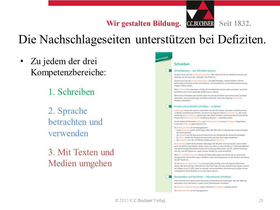 Die Nachschlageseiten unterstützen bei Defiziten. Zu jedem der drei Kompetenzbereiche: 1. Schreiben 2. Sprache betrachten und verwenden 3. Mit Texten