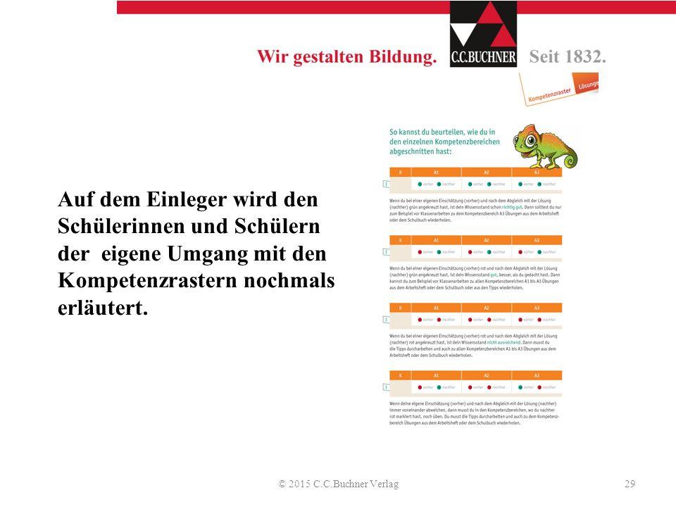 Auf dem Einleger wird den Schülerinnen und Schülern der eigene Umgang mit den Kompetenzrastern nochmals erläutert. © 2015 C.C.Buchner Verlag29