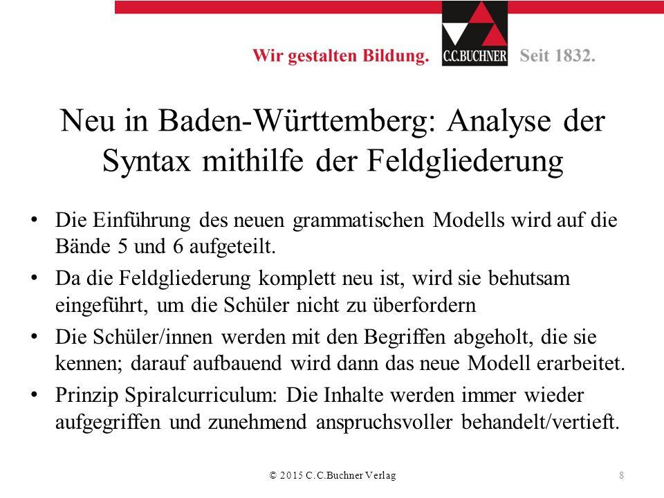 Neu in Baden-Württemberg: Analyse der Syntax mithilfe der Feldgliederung Die Einführung des neuen grammatischen Modells wird auf die Bände 5 und 6 auf
