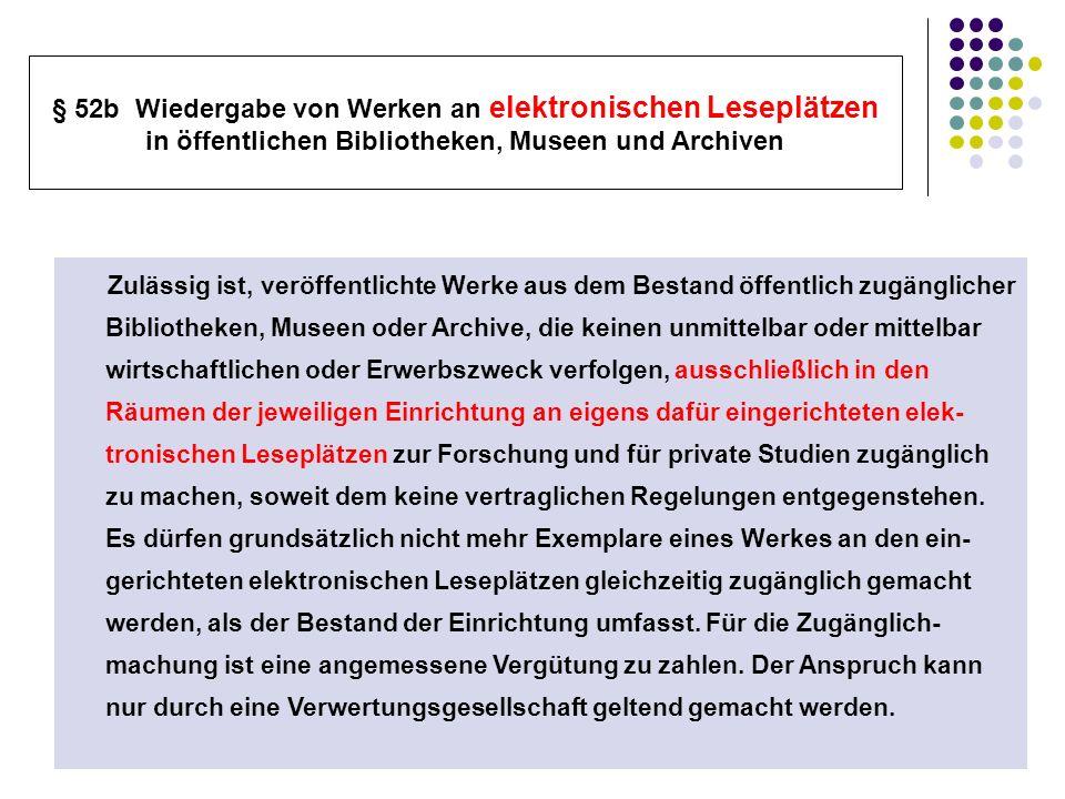 § 52b Wiedergabe von Werken an elektronischen Leseplätzen in öffentlichen Bibliotheken, Museen und Archiven Zulässig ist, veröffentlichte Werke aus de