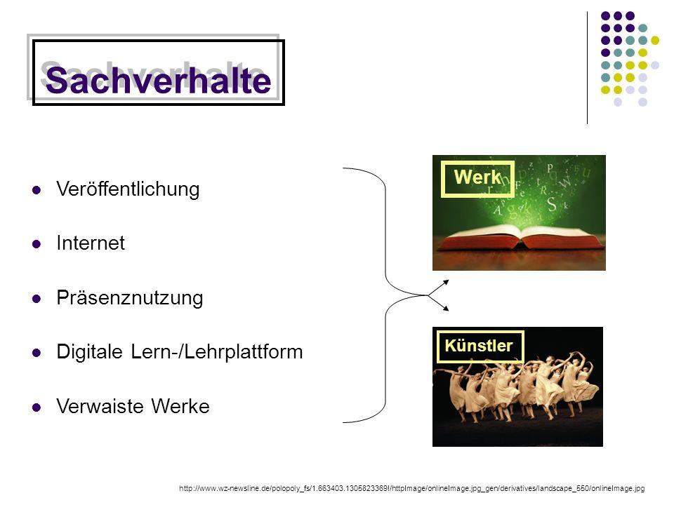 Sachverhalte Veröffentlichung Internet Präsenznutzung Digitale Lern-/Lehrplattform Verwaiste Werke http://www.wz-newsline.de/polopoly_fs/1.663403.1305823369!/httpImage/onlineImage.jpg_gen/derivatives/landscape_550/onlineImage.jpg Werk Künstler