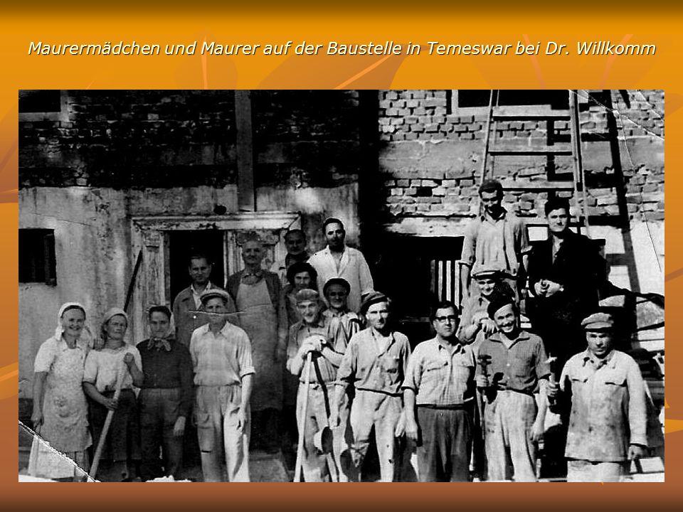 Maurermädchen und Maurer auf der Baustelle in Temeswar bei Dr. Willkomm