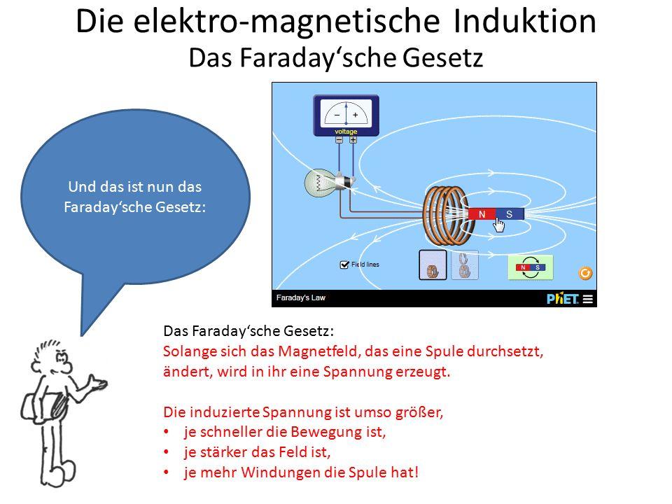 Die elektro-magnetische Induktion Das Faraday'sche Gesetz (Tafelbild) Solange sich das Magnetfeld, das eine Spule durchsetzt, ändert, wird in ihr eine Spannung erzeugt.