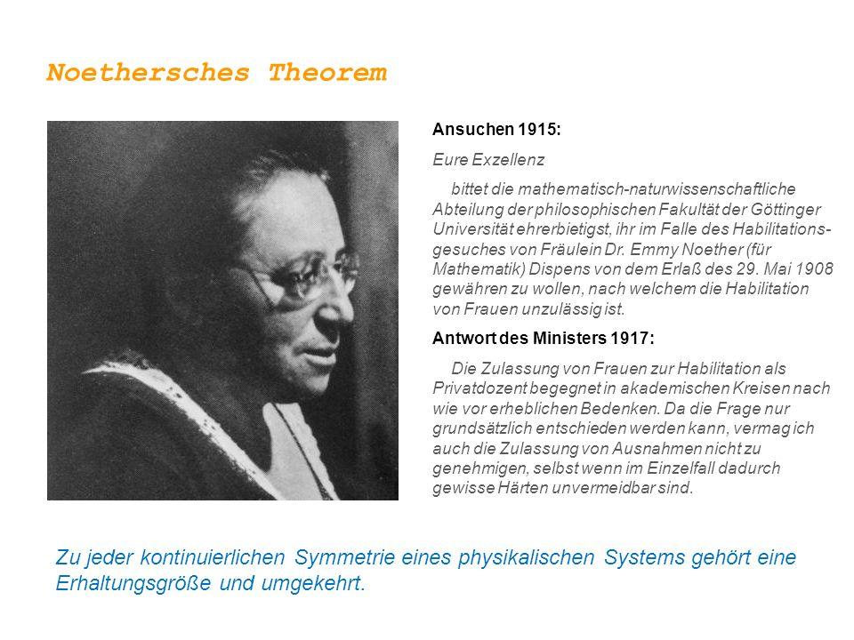 Noethersches Theorem Zu jeder kontinuierlichen Symmetrie eines physikalischen Systems gehört eine Erhaltungsgröße und umgekehrt. Emmy Noether (1882 –