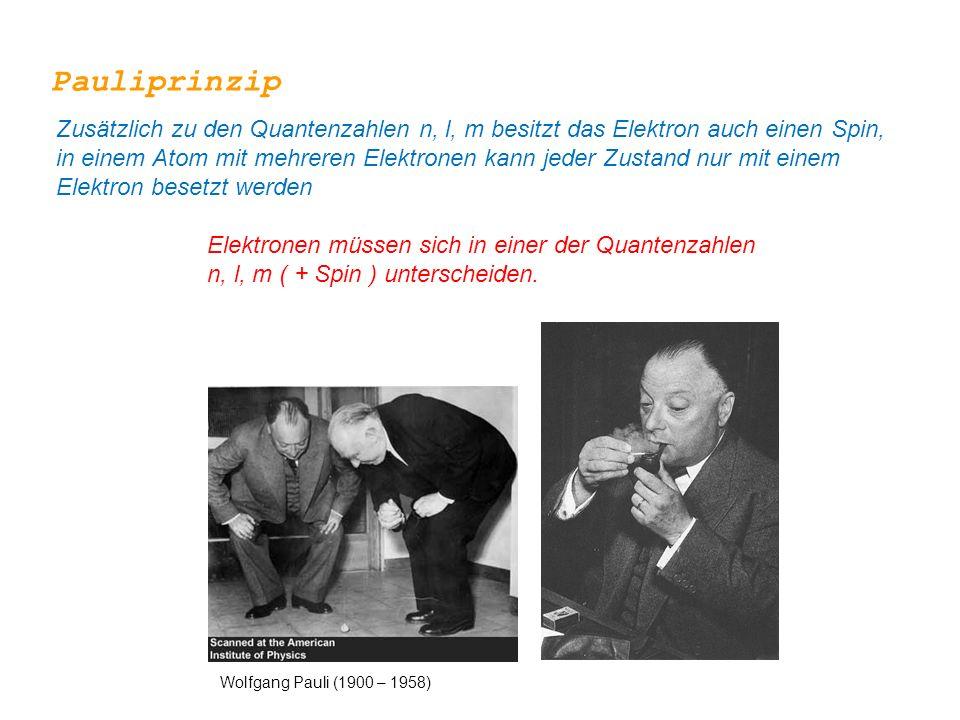 Elektronen müssen sich in einer der Quantenzahlen n, l, m ( + Spin ) unterscheiden. Wolfgang Pauli (1900 – 1958) Pauliprinzip Zusätzlich zu den Quante