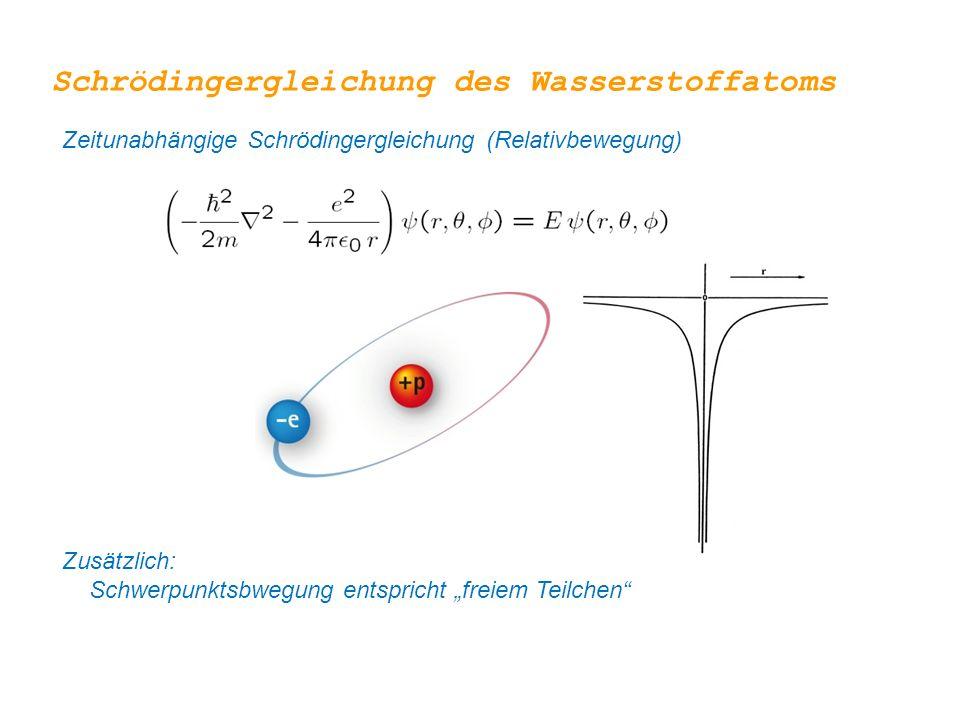 """Zeitunabhängige Schrödingergleichung (Relativbewegung) Zusätzlich: Schwerpunktsbwegung entspricht """"freiem Teilchen"""" Schrödingergleichung des Wassersto"""