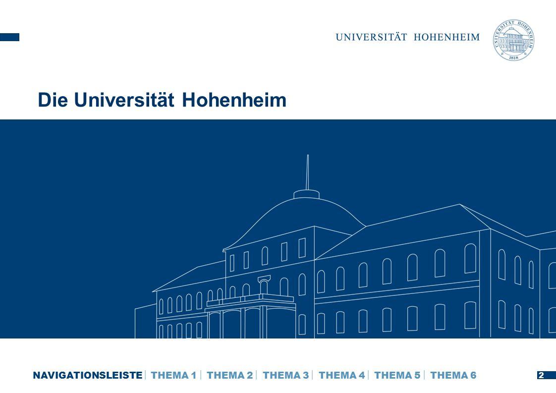 Die Universität Hohenheim 2 NAVIGATIONSLEISTE  THEMA 1  THEMA 2  THEMA 3  THEMA 4  THEMA 5  THEMA 6 2