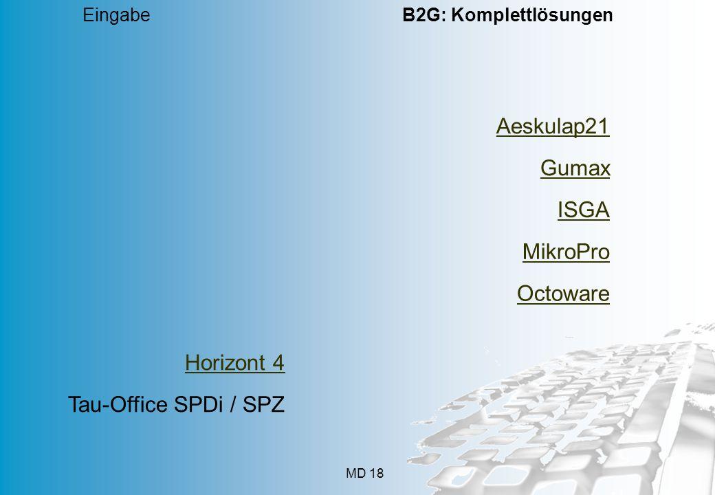 MD 18 Eingabe B2G: Komplettlösungen Aeskulap21 Gumax ISGA MikroPro Octoware Horizont 4 Tau-Office SPDi / SPZ