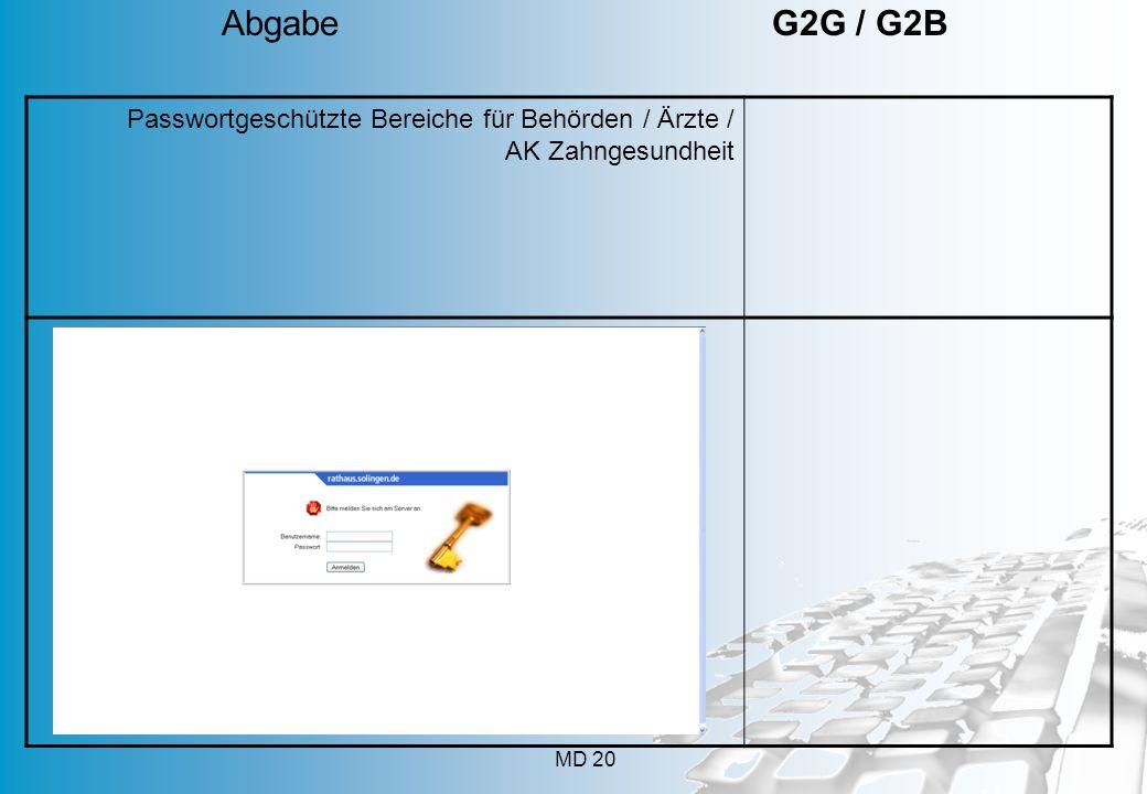MD 20 Passwortgeschützte Bereiche für Behörden / Ärzte / AK Zahngesundheit Abgabe G2G / G2B