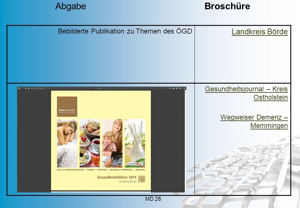 MD 26 Bebilderte Publikation zu Themen des ÖGD Landkreis Börde Gesundheitsjournal – Kreis Ostholstein Wegweiser Demenz – Memmingen Abgabe Broschüre