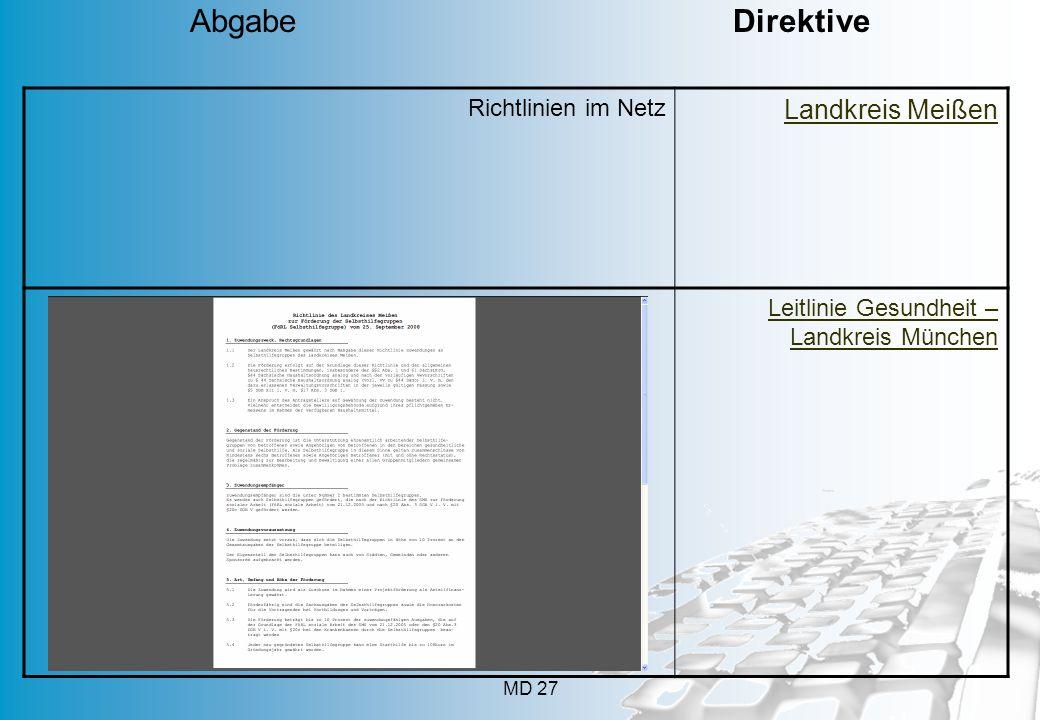 MD 27 Richtlinien im Netz Landkreis Meißen Leitlinie Gesundheit – Landkreis München Abgabe Direktive