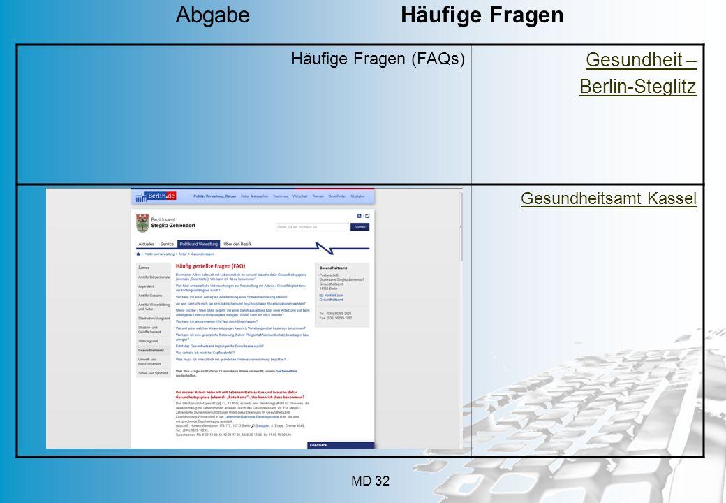 MD 32 Häufige Fragen (FAQs) Gesundheit – Berlin-Steglitz Gesundheitsamt Kassel Abgabe Häufige Fragen