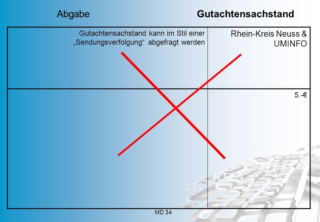 """MD 34 Gutachtensachstand kann im Stil einer """"Sendungsverfolgung"""" abgefragt werden Rhein-Kreis Neuss & UMINFO 5.-€ Abgabe Gutachtensachstand"""