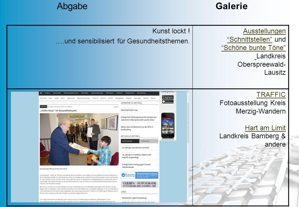 """MD 35 Kunst lockt ! ….und sensibilisiert für Gesundheitsthemen. Ausstellungen """"Schnittstellen""""Ausstellungen """"Schnittstellen"""" und """"Schöne bunte Töne"""" """""""