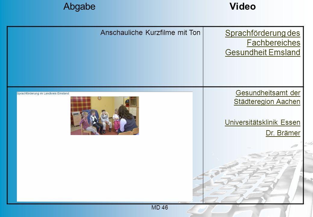 MD 46 Anschauliche Kurzfilme mit Ton Sprachförderung des Fachbereiches Gesundheit Emsland Gesundheitsamt der Städteregion Aachen Universitätsklinik Es