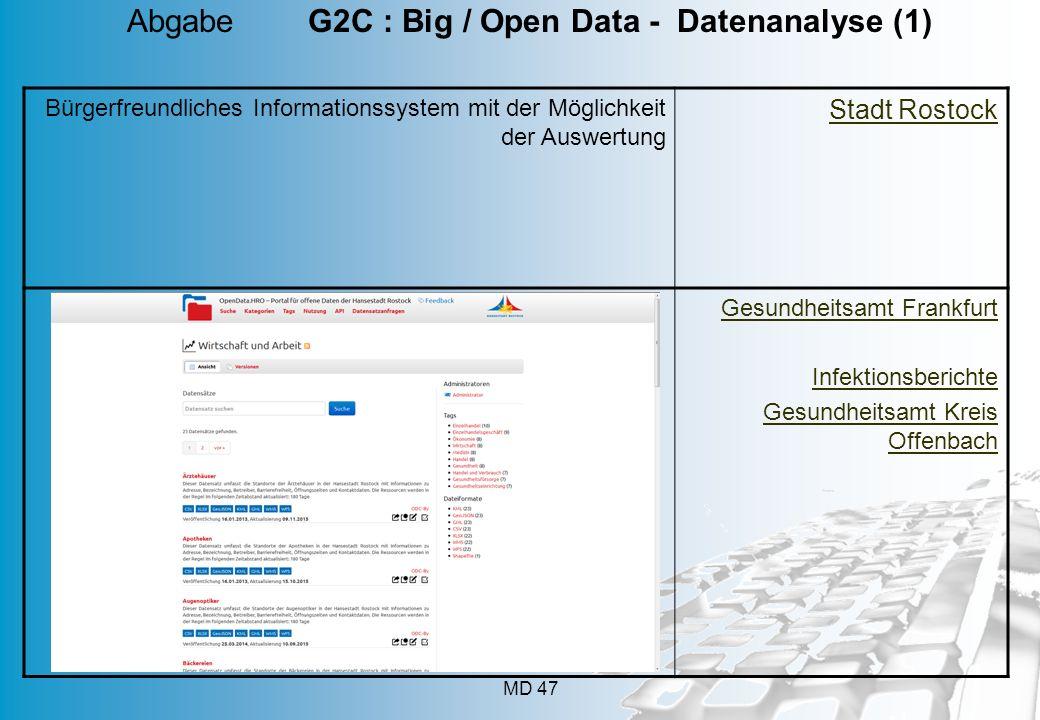 MD 47 Bürgerfreundliches Informationssystem mit der Möglichkeit der Auswertung Stadt Rostock Gesundheitsamt Frankfurt Infektionsberichte Gesundheitsam