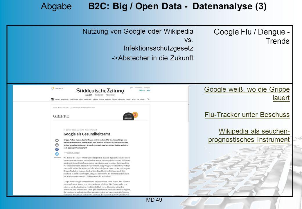 MD 49 Nutzung von Google oder Wikipedia vs. Infektionsschutzgesetz ->Abstecher in die Zukunft Google Flu / Dengue - Trends Google weiß, wo die Grippe