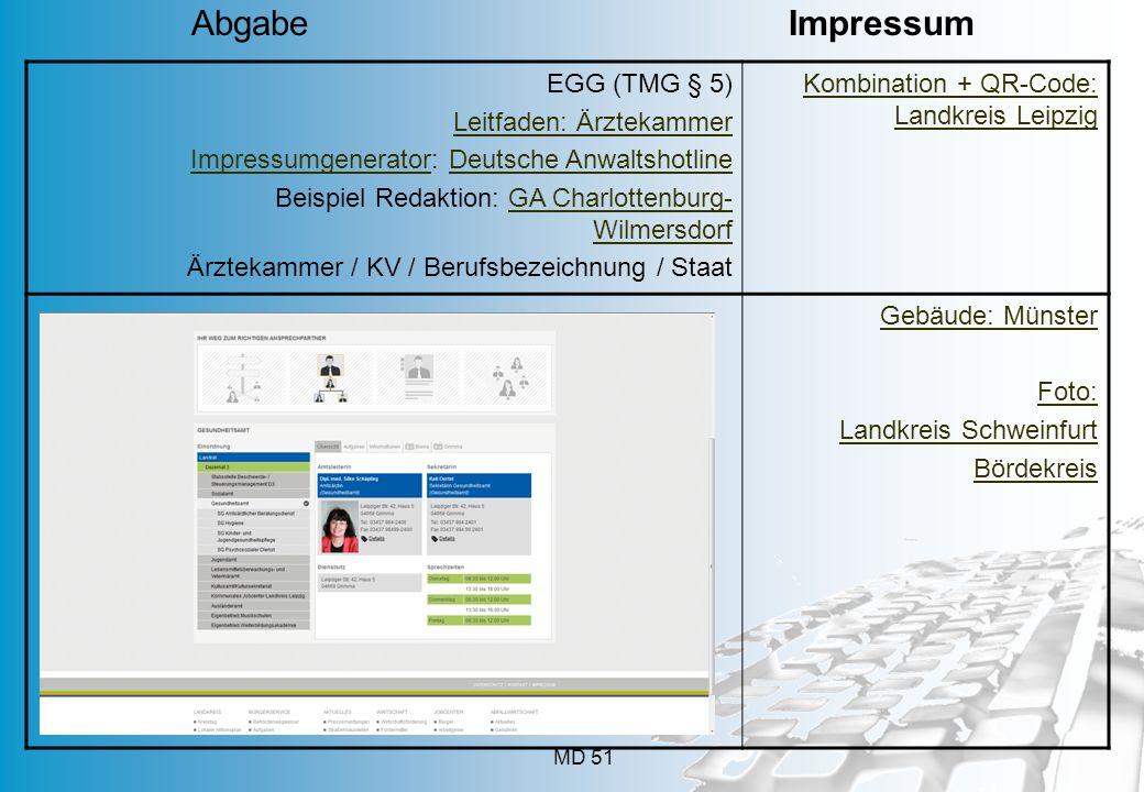 MD 51 EGG (TMG § 5) Leitfaden: Ärztekammer ImpressumgeneratorImpressumgenerator: Deutsche AnwaltshotlineDeutsche Anwaltshotline Beispiel Redaktion: GA