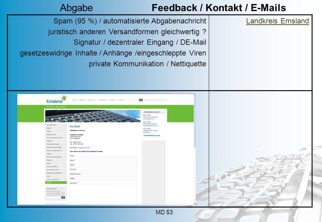 MD 53 Spam (95 %) / automatisierte Abgabenachricht juristisch anderen Versandformen gleichwertig ? Signatur / dezentraler Eingang / DE-Mail gesetzeswi