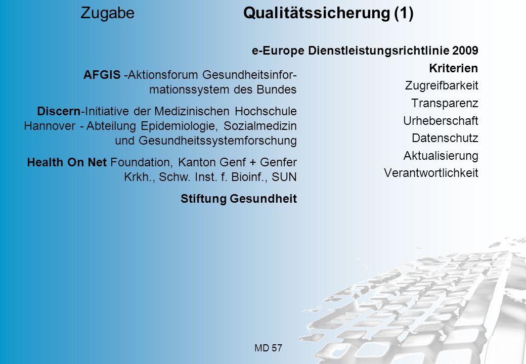 MD 57 e-Europe Dienstleistungsrichtlinie 2009 Kriterien Zugreifbarkeit Transparenz Urheberschaft Datenschutz Aktualisierung Verantwortlichkeit Zugabe