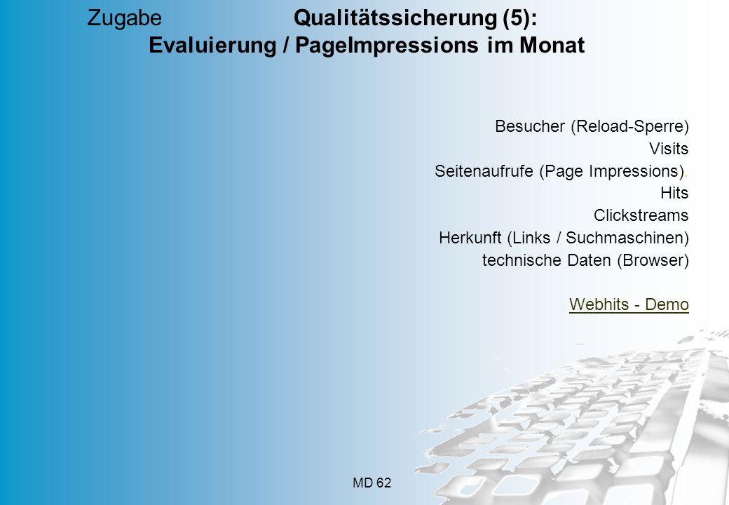 MD 62 Zugabe Qualitätssicherung (5): Evaluierung / PageImpressions im Monat Besucher (Reload-Sperre) Visits Seitenaufrufe (Page Impressions). Hits Cli