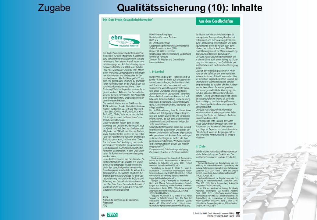 MD 67 Zugabe Qualitätssicherung (10): Inhalte