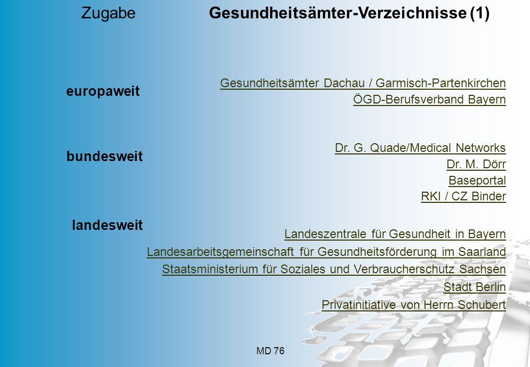 MD 76 Gesundheitsämter Dachau / Garmisch-Partenkirchen ÖGD-Berufsverband Bayern Dr. G. Quade/Medical Networks Dr. M. Dörr Baseportal RKI / CZ Binder Z