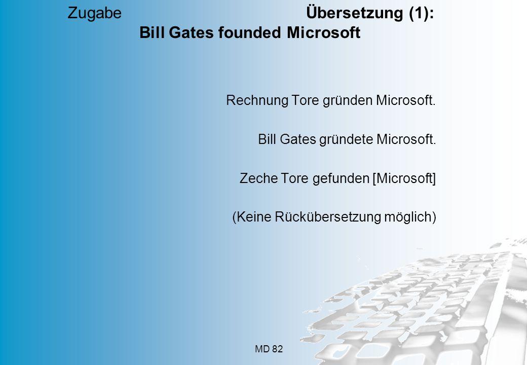 MD 82 Rechnung Tore gründen Microsoft. Bill Gates gründete Microsoft. Zeche Tore gefunden [Microsoft] (Keine Rückübersetzung möglich) Zugabe Übersetzu