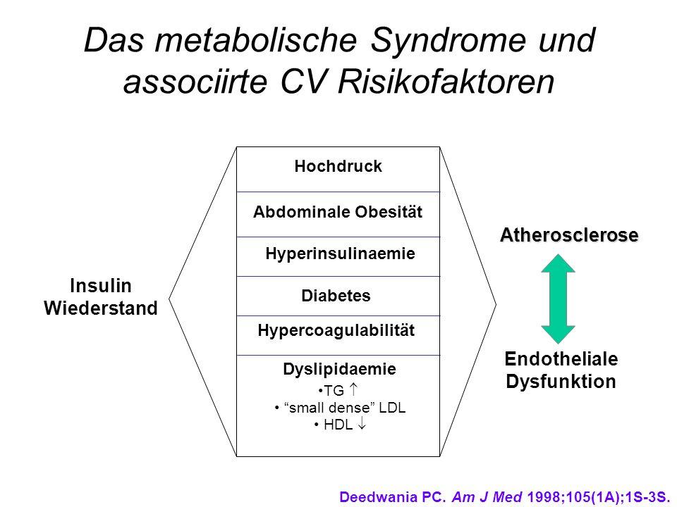 Das metabolische Syndrome und associirte CV Risikofaktoren Insulin Wiederstand Atherosclerose Endotheliale Dysfunktion Hochdruck Abdominale Obesität H