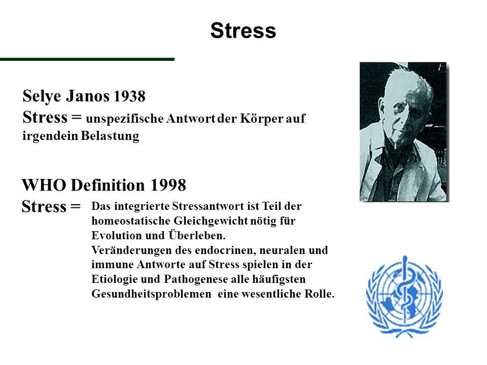 Stress Selye Janos 1938 Stress = unspezifische Antwort der Körper auf irgendein Belastung WHO Definition 1998 Stress = Das integrierte Stressantwort i