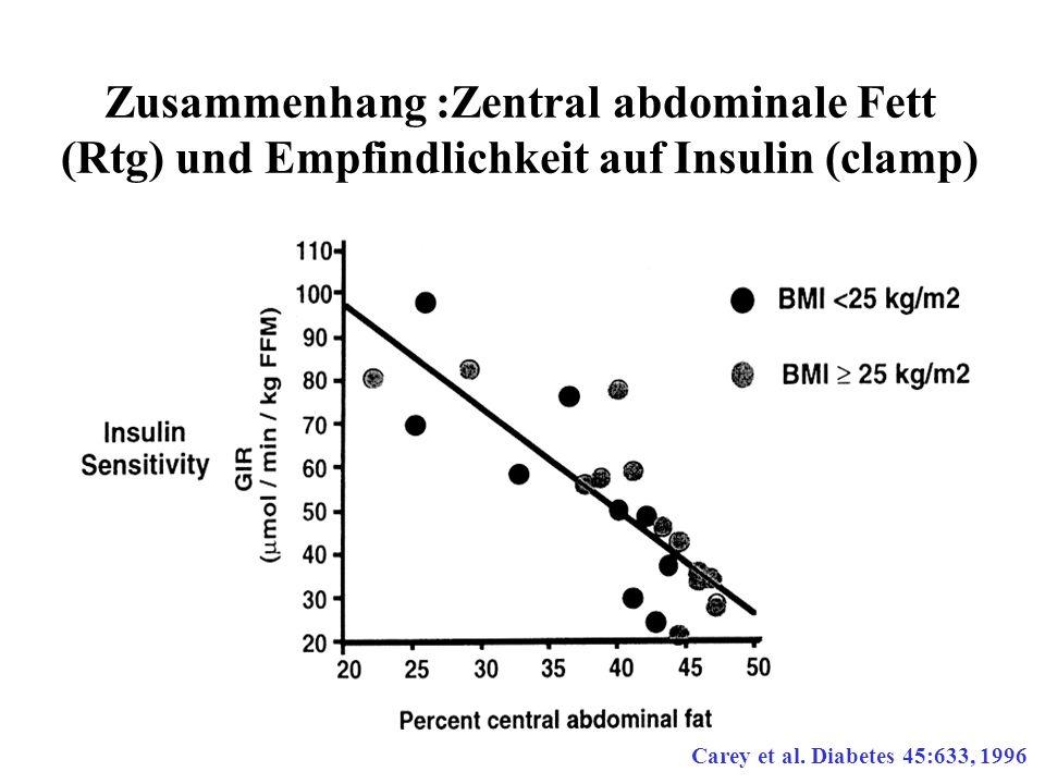Zusammenhang :Zentral abdominale Fett (Rtg) und Empfindlichkeit auf Insulin (clamp) Carey et al. Diabetes 45:633, 1996