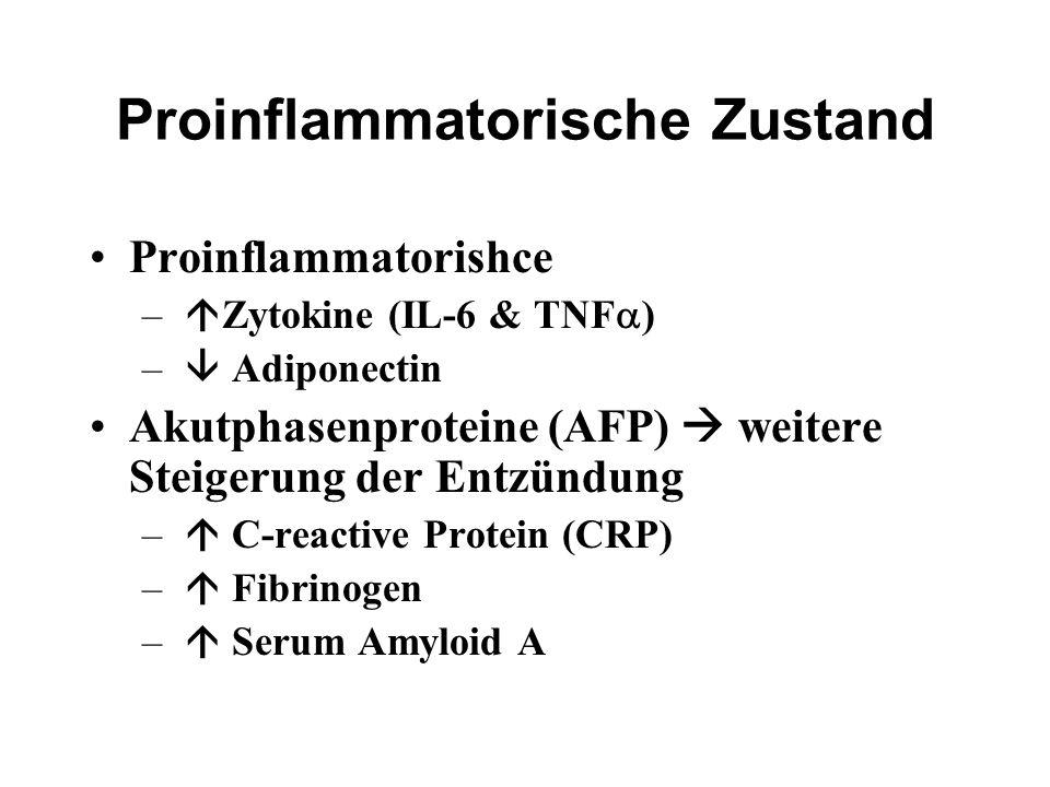 Proinflammatorische Zustand Proinflammatorishce –  Zytokine (IL-6 & TNF  ) –  Adiponectin Akutphasenproteine (AFP)  weitere Steigerung der Entzünd