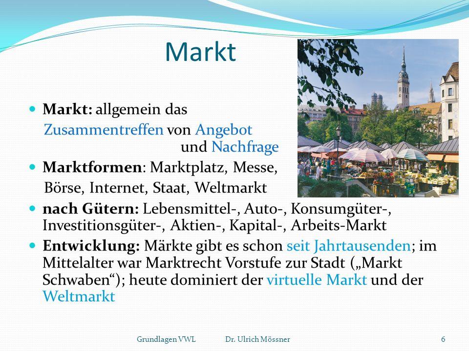 """Markt Markt: allgemein das Zusammentreffen von Angebot und Nachfrage Marktformen: Marktplatz, Messe, Börse, Internet, Staat, Weltmarkt nach Gütern: Lebensmittel-, Auto-, Konsumgüter-, Investitionsgüter-, Aktien-, Kapital-, Arbeits-Markt Entwicklung: Märkte gibt es schon seit Jahrtausenden; im Mittelalter war Marktrecht Vorstufe zur Stadt (""""Markt Schwaben ); heute dominiert der virtuelle Markt und der Weltmarkt 6Grundlagen VWL Dr."""