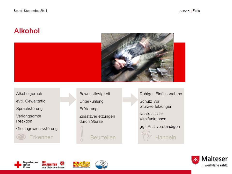 Alkohol   Folie Erkennen BeurteilenHandeln Alkohol Alkoholgeruch evtl.