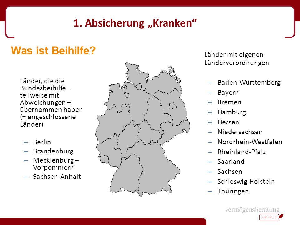 """1. Absicherung """"Kranken"""" Länder, die die Bundesbeihilfe – teilweise mit Abweichungen – übernommen haben (= angeschlossene Länder) – Berlin – Brandenbu"""