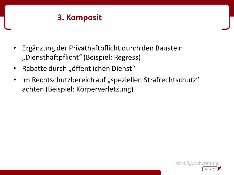 """3. Komposit Ergänzung der Privathaftpflicht durch den Baustein """"Diensthaftpflicht"""" (Beispiel: Regress) Rabatte durch """"öffentlichen Dienst"""" im Rechtsch"""