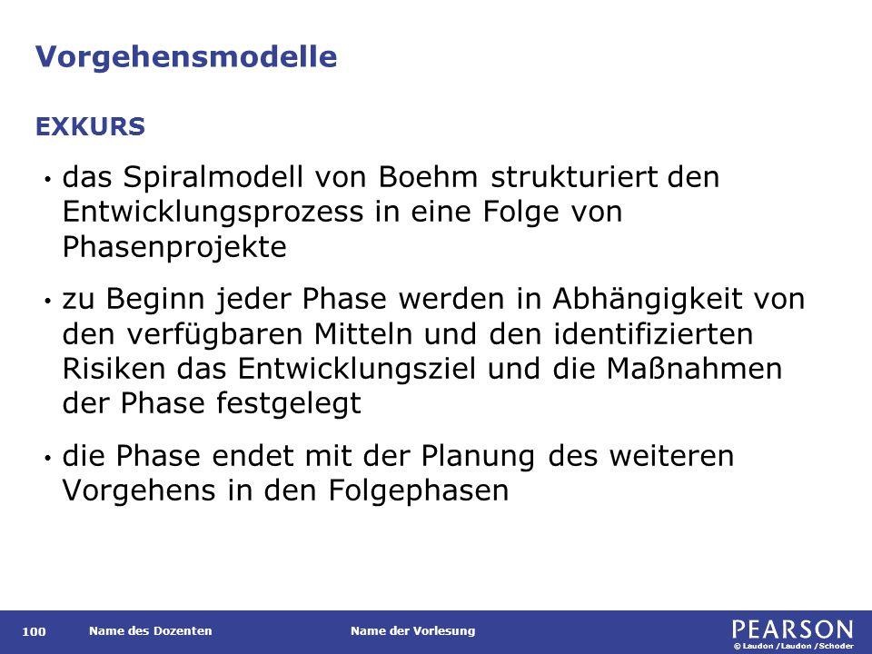 © Laudon /Laudon /Schoder Name des DozentenName der Vorlesung Vorgehensmodelle 100 das Spiralmodell von Boehm strukturiert den Entwicklungsprozess in eine Folge von Phasenprojekte zu Beginn jeder Phase werden in Abhängigkeit von den verfügbaren Mitteln und den identifizierten Risiken das Entwicklungsziel und die Maßnahmen der Phase festgelegt die Phase endet mit der Planung des weiteren Vorgehens in den Folgephasen EXKURS
