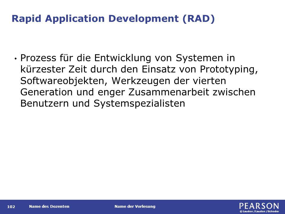 © Laudon /Laudon /Schoder Name des DozentenName der Vorlesung Rapid Application Development (RAD) 102 Prozess für die Entwicklung von Systemen in kürz